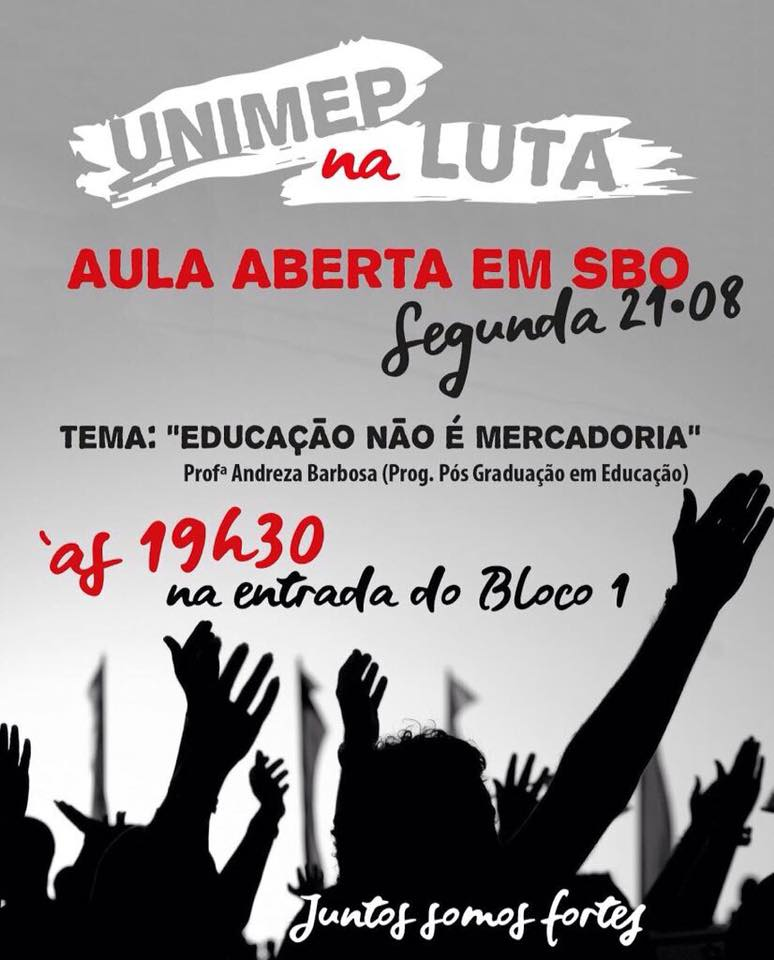 Unimep: greve continua e mobilização se intensifica também em SBO.