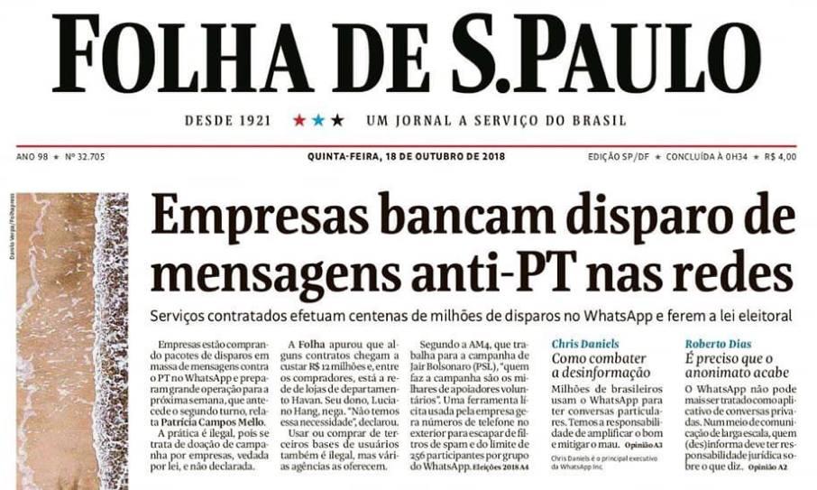 Folha revela Fraude em campanha de Bolsonaro