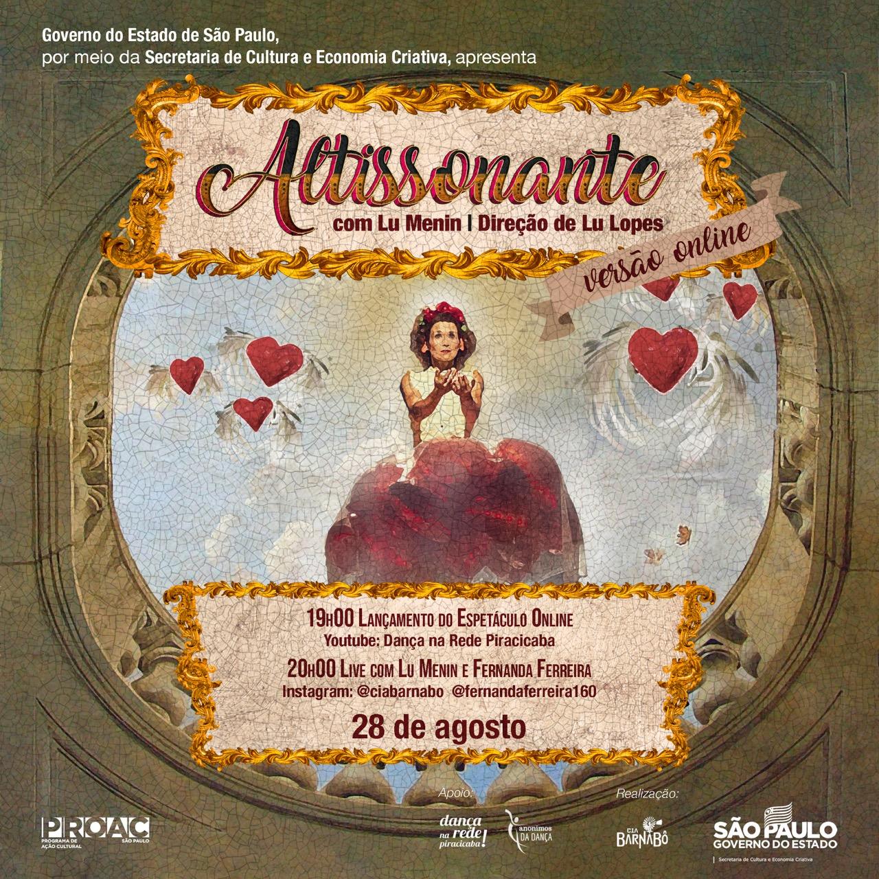 Altissonante! Espetáculo circense online e live com Fernanda Ferreira são atrações desta sexta-feira, em Piracicaba!