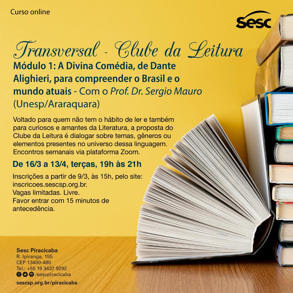 Sesc Piracicaba abre inscrições para Clube da Leitura com encontros virtuais